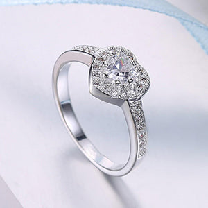 Swarovski Elements Heart Shaped Pave' Ring in 18K White Gold
