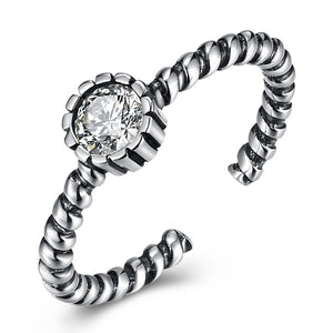 Sterling Silver Twisted Rope Adjustable Ring