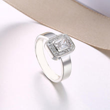 Load image into Gallery viewer, Sterling Silver Swarovski Emerald Cut Cocktail Ring