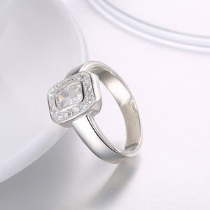 Sterling Silver Swarovski Emerald Cut Cocktail Ring