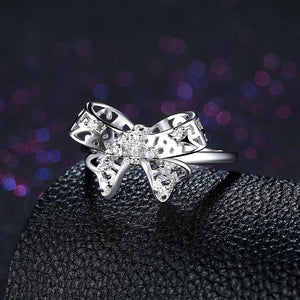 Sterling Silver Swarovski Bow-Tie Cocktail Ring