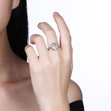 Load image into Gallery viewer, Sterling Silver Swarovski Elements Hectagon Halo Ring