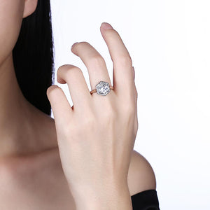 Sterling Silver Swarovski Elements Hectagon Halo Ring
