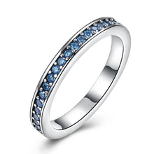Load image into Gallery viewer, Sterling Silver Blue Swarovski Band Ring