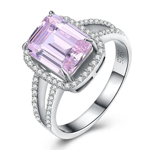 Sterling Silver Pink Sapphire Emerald Cut Cocktail Ring