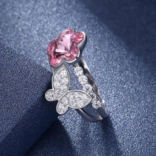 Load image into Gallery viewer, Sterling Silver Pink Swarovski & Butterfly Ring