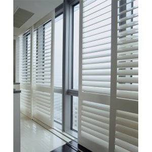 Indoor 100% Basswood Sliding Shutters For Windows And Doors With Frame And Rail Plantation Shutters Window Blinds Flat Plate