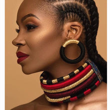 Load image into Gallery viewer, Liffly Brand Necklace Earrings Multi-layer Woven Jewelry Choker Necklace Bridal Wedding Party Africa Beads Jewelry Set for Women
