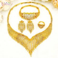 Load image into Gallery viewer, Liffly Fashion Jewelry Sets Nigeria Dubai Gold Jewelry Sets for Women Africa Bead Bridal Yellow Jewelry Set Wedding Gifts