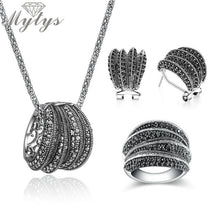 Load image into Gallery viewer, Mytys Two Styles Black Marcasite Stone Vintage Jewelry Sets for Women High Quality Sparkling Antique Retro Statement Jewellery