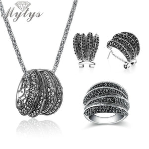 Mytys Two Styles Black Marcasite Stone Vintage Jewelry Sets for Women High Quality Sparkling Antique Retro Statement Jewellery