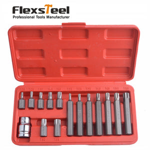 New 15-Pieces Chrome Vanadium Steel Torx Bit Set Star Bits Set Including 14PC Torx bits and 1PC 1/2 inch Drive Socket Adaptor