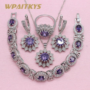 Noble Purple Cubic Zirconia 925 Silver Jewelry Sets For Women Flower Shaped Earring Pendant Necklace Ring Bracelet