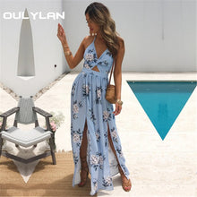 Load image into Gallery viewer, Oulylan Summer Long Dress Women Sexy Evening Party V Neck Beach Maxi Dresses Boho Floral Fashion Halter Split Sundress