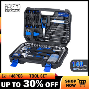 Prostormer 148 Pcs Household Ratchet Wrench Set Hand Tool Set Car Repair Tool Socket Wrench Tool Kit Auto Repair Mixed Tool