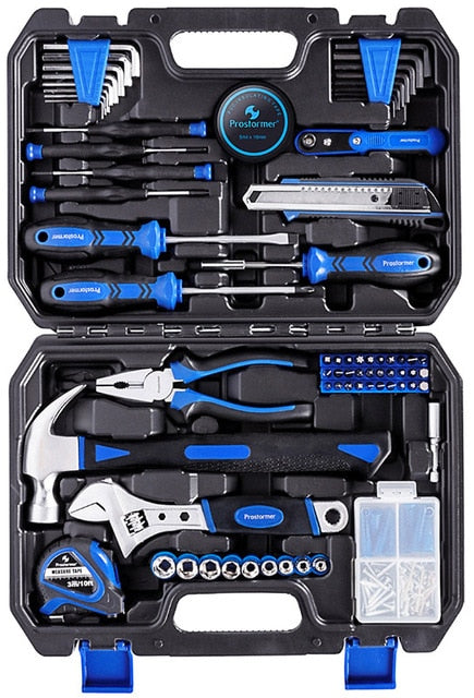Prostormer Hand Tool Set 120/148/210 Pcs Household Combination Toolbox Socket Wrench Screwdriver Knife with Plastic Storage Case