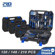 Load image into Gallery viewer, Prostormer Hand Tool Set 120/148/210 Pcs Household Combination Toolbox Socket Wrench Screwdriver Knife with Plastic Storage Case