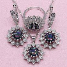 Load image into Gallery viewer, Rainbow Cubic Zirconia 925 Silver Jewelry Sets For Women Wedding Exquisite Flower Shaped Earring Pendant Necklace Ring Bracelet