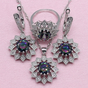 Rainbow Cubic Zirconia 925 Silver Jewelry Sets For Women Wedding Exquisite Flower Shaped Earring Pendant Necklace Ring Bracelet