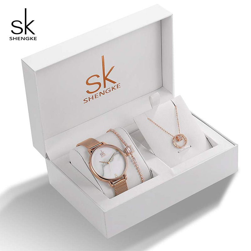 Shengke Brand Wife's Gift Women's Quartz Watch Sets Fashion Creative Crystal Design Bracelet Necklace Set Female Jewelry Set