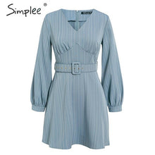 Load image into Gallery viewer, Simplee Sexy v-neck striped women dress Casual long sleeve fashion belt blue A-line female dress Autumn winter office mini dress