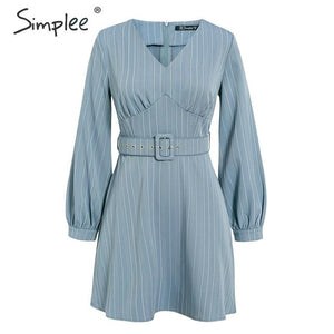 Simplee Sexy v-neck striped women dress Casual long sleeve fashion belt blue A-line female dress Autumn winter office mini dress