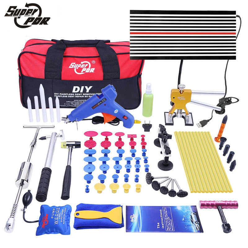 Super PDR Tools Paintless Dent Repair Tools Dent Removal Tools LED Lamp Reflector Board Hand Tool Set PDR Kit