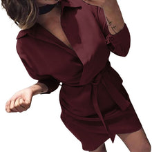 Load image into Gallery viewer, Turn-down Collar Empire Office Party Shirt Dress Women Solid Long Sleeve Autumn Dress Sashes Asymmetrical Casual Beach Vestidos
