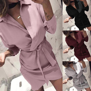 Turn-down Collar Empire Office Party Shirt Dress Women Solid Long Sleeve Autumn Dress Sashes Asymmetrical Casual Beach Vestidos