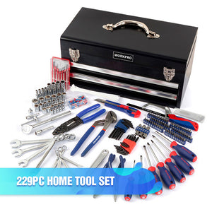 WORKPRO 165PC Home Tool Set Household Tool Kits Ratchet Wrench Sockets set Precision Screwdriver Bits Set Hex Key Hammer