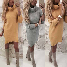 Load image into Gallery viewer, Womens Knitted Sweater Jumper Turtleneck Mini Dress Ladies Knitwear Winter Long Sleeve Dress