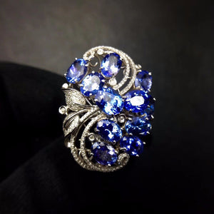 Tanzanite Ring Fine Jewelry Real Pure 18 K Gold AU750 100% Natural Tanzania Tanzanite Gemstone Female Rings for Women Fine Ring