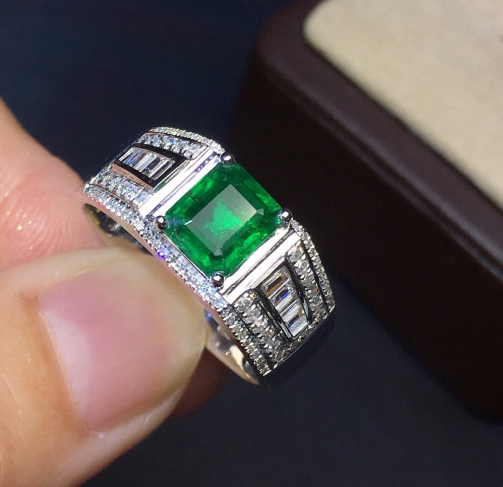 Fine Jewelry Collection Real 18K White Gold 100% Natural Emerald Gemstone 1.2ct Male Wedding Rings for Men Fine Ring