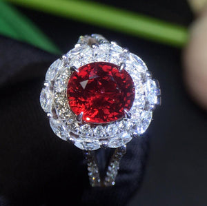 Fine Jewelry 18K White Gold Real Natural GRS Pigeon Blood Red Ruby Diamonds 2.03ct Engagement Female Rings for Women Fine Ring