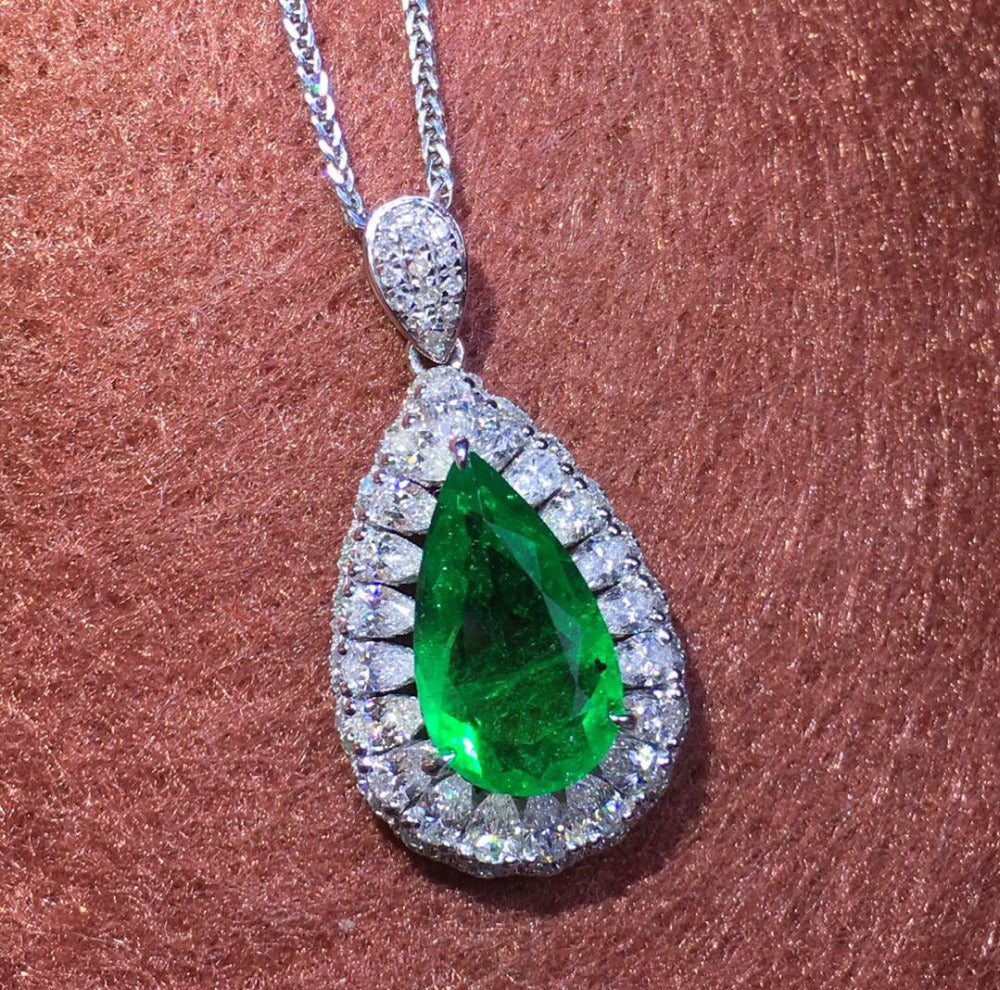 GRS Colombia Fine Jewelry  Real 18K White Gold Natural 1.41ct Emerald Gemstone Female Pendants for Women Fine Necklace