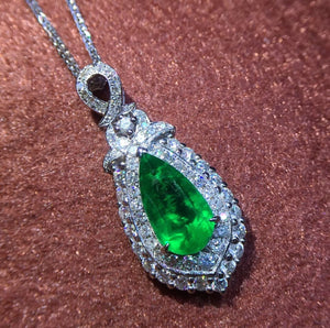 GRS Colombia Origin Fine Jewelry  Real 18 K White Gold Natural 1.53ct Emerald Gemstones Female Pendants for Women Fine Necklace