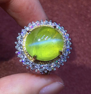 AIGS Fine Jewelry  Real 18K White Gold 100% Natural Chrysoberyl Cat's Eye Gemstones 12.53carats Rings for women Fine Ring