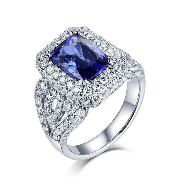 2019 Tanzanite Rings For Women 12g Solid 18K White Gold 4.55Ct Natural Tanzanite Femme Engagement Wedding Diamonds Ring Jewelry