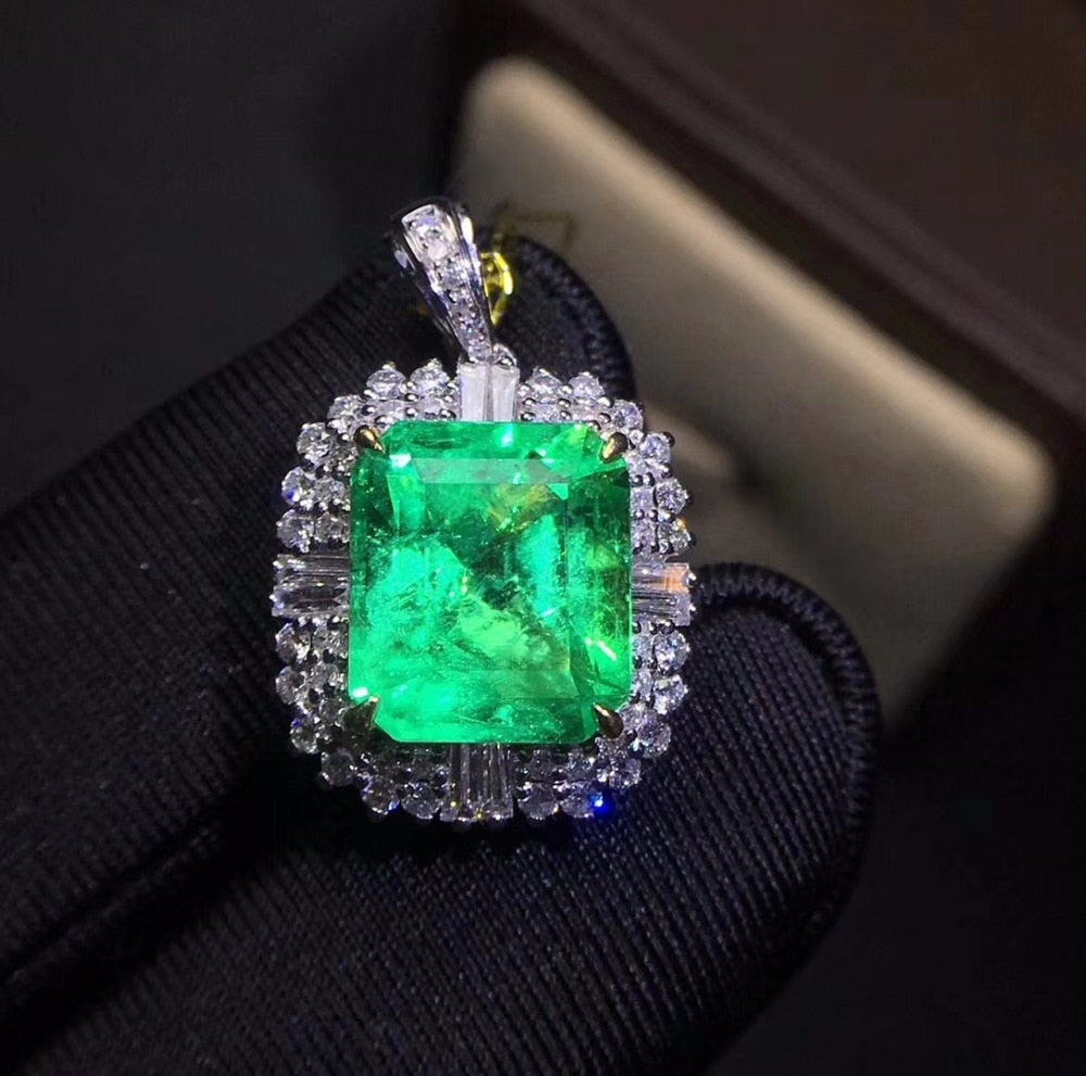 Fine Jewelry Colombia Real 18K White Gold AU750 Natural Emerald Gemstones 4.18ct Luxury Female Pendants for Women Fine Necklace