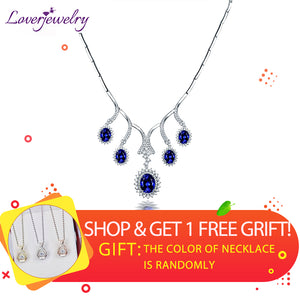 LOVERJEWELRY Luxury Design Natural Oval Tanzanite Necklace Solid 18Kt White Gold Sparkly Diamond Women Wedding Elegant Jewelry