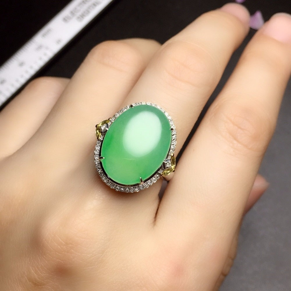 Fine Jewelry 18K White Gold Real Natural Green Jade Burma Origin Wedding Engagement Female Rings for Women Fine Ring