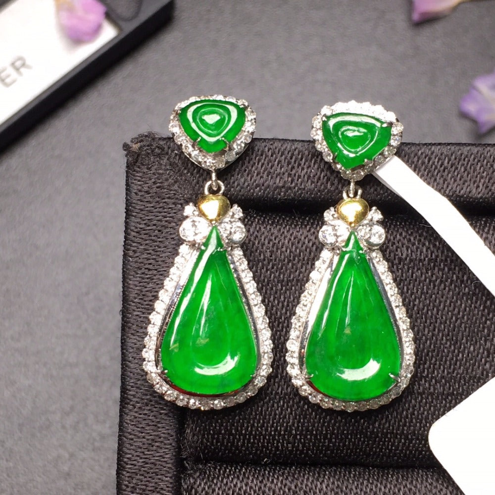505 Fine Jewelry Pure Real 18 K White Gold AU750 100% Natural Green Jade Amulet Gemstone Myanmer Origin Drop Earrings for Women