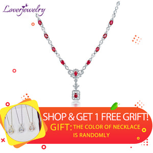 LOVERJEWELRY Luxury Diamonds Lady Ruby Necklace Special Design 18K White Gold For Women Party Fine Jewelry Christmas Wife Gift