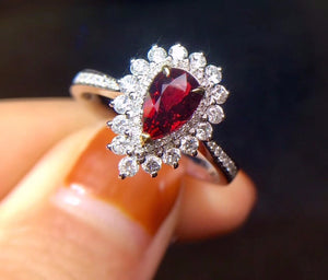 Fine Jewelry Real 18K White Gold 100% Natural GRS1.0ct Red Ruby Gemstone 18k Gold Diamonds Stone Female Ring for Women Rings