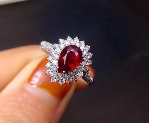 Fine Jewelry Real 18K White Gold 100% Natural GRS1.09ct Red Ruby Gemstone 18k Gold Diamonds Stone Female Ring for Women Rings