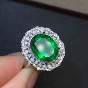 GRS Colombia Fine Jewelry G18k Rings Real Diamonds 18K Gold Natural Emerald Gemstones 4.04carat Rings for women Fine Ring