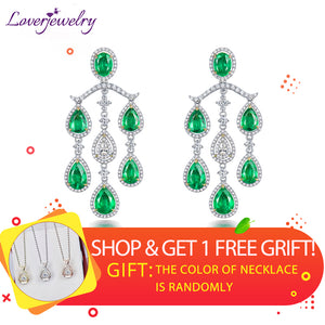 LOVERJEWELRY Luxury Wedding Dandle Earrings 2019 Jewelry Solid 18K White Gold Emerald Engagement Diamond Drop Earrings for Women
