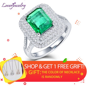 LOVERJEWELRY Lady Rings Solid 18Kt White Gold Genuine Emerald Diamond Wedding Rings Natural Gemstone Fine Jewelry for Women Gift