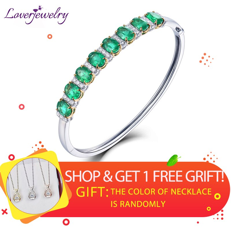 LOVERJEWELRY Solid 18Kt Au750 White Gold Oval Shape Green Emerald Wedding Bangle Sparkly Diamonds Jewelry for Women Christmas