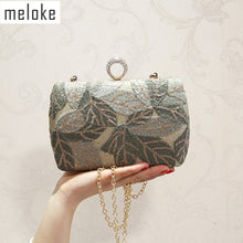 Load image into Gallery viewer, Meloke 2019 new women sequins evening clutch bling embroidery clutch wallets banquet bags for women dimond ring bags MN1342